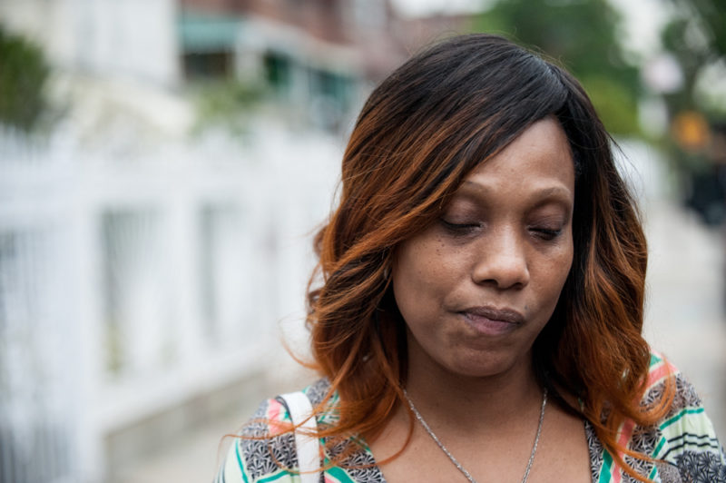 Constance Malcolm in the Bronx on May 21, 2014 outside the home where her son Ramarley Graham was killed by members of the NYPD in February 2012. (Robert Stolarik for JJIE)
