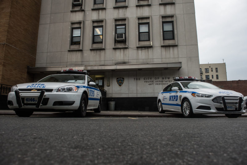 Outside the 48th Precinct in the Bronx on May 21, 2014, where the officers who allegedly pushed Javier Payne through a plate glass window are stationed. (Robert Stolarik for JJIE)