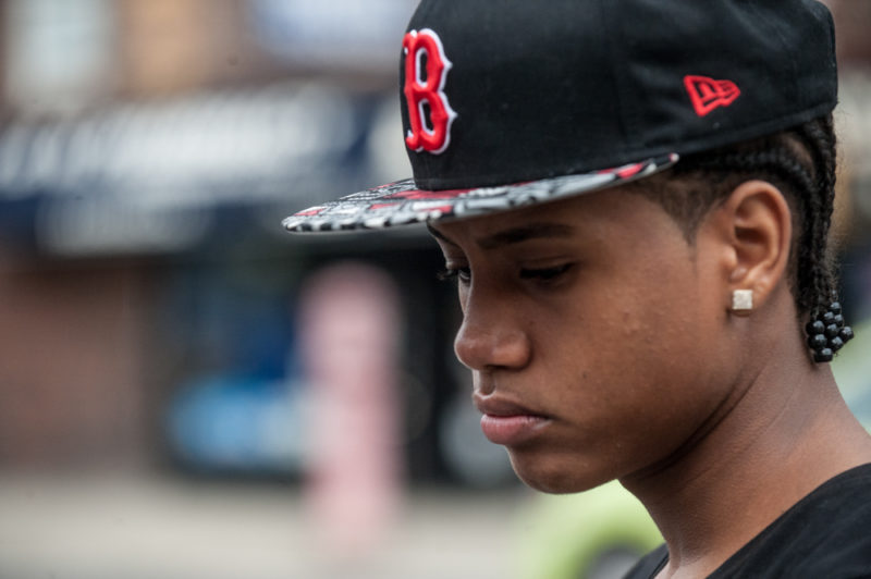 Yoseluis Montero a friend of Javier Payne leaving Public School 22 on May 21, 2014 in the Bronx where Payne attends the 8th grade. (Robert Stolarik for JJIE)