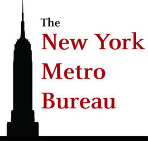 The New York Metro Bureau red text & logo black Empire State Building silhouette
