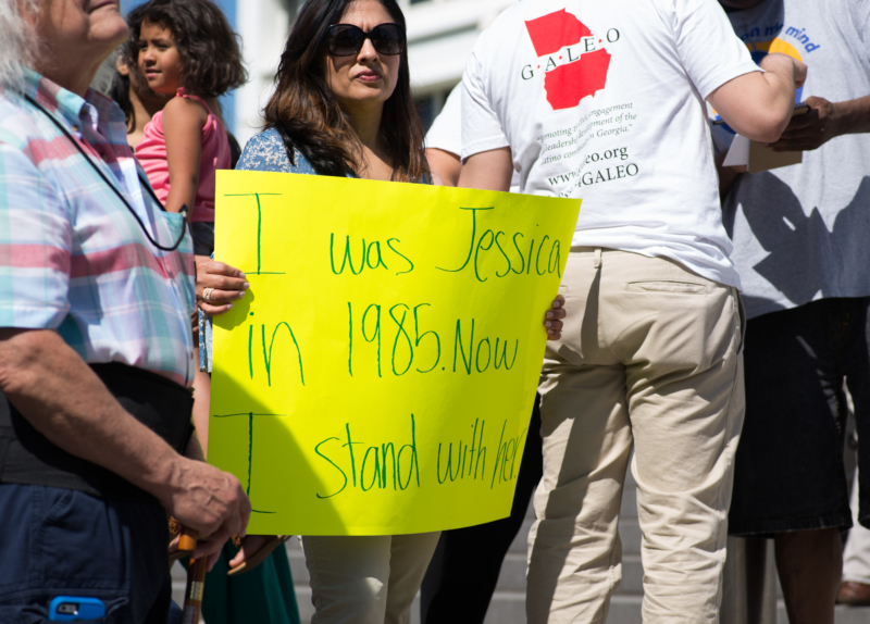 Jessica Colbotl Rally: A protester showed her support for Jessica Colotl at a rally Saturday to protest her Dreamer status being revoked by U.S. Immigration and Customs Enforcement.
