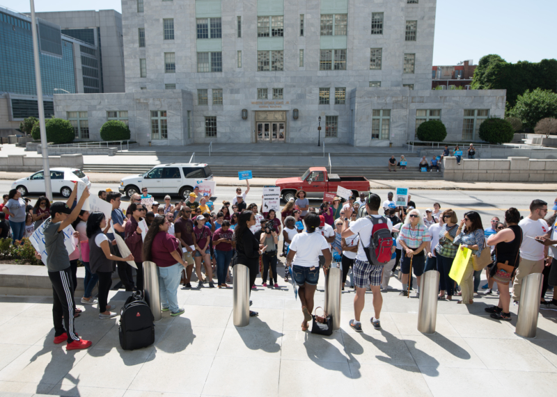 Jessica Colotl Rally: The crowd gathered in front of the Richard B. Russell Federal Building Saturday to protest against ICE immigration actions and stand with Jessica Colotl.