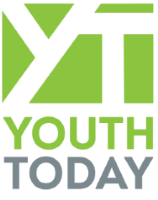 Youth Today name with white logo on lime green