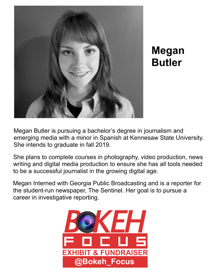 Bio text and black and white headshot of Megan Butler with red and white Bokeh Focus logo