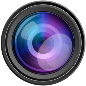 Camera aperature lens with rainbowed surface in black metal ring