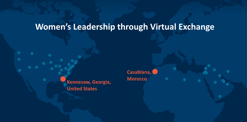 World map in dark blue with Kennesaw, GA and Casablanca, Morocco shown in red dots, titled Women's Leadership through Virtual Exchange
