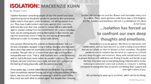 Isolation essay by Megan Kuhn