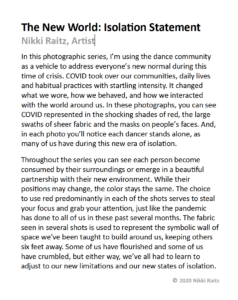 Isolation essay artist statement by Nikki Raitz