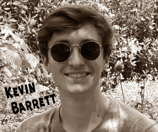 Kevin Barrett, smiling headshot of young man with brown hair and sunglasses. - sepia toned