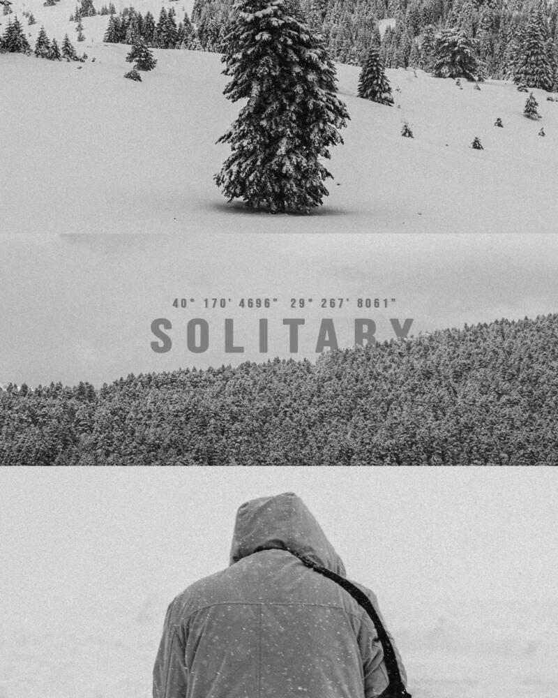 Syed Hamza: Person facing away from camera in a hooded beige parka facing a snow-covered fieldand low hill with evergreen trees in the distance. The word SOLITARY in text.