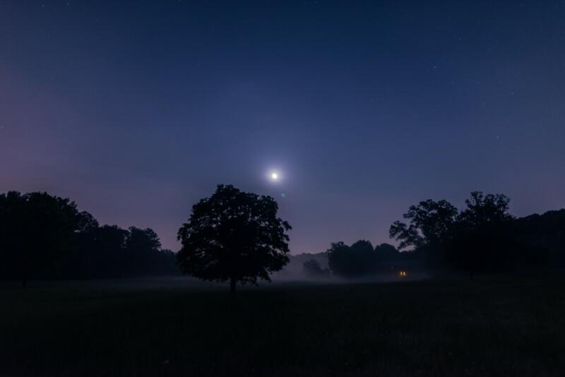 Ali Sardar: A deep blue night sky full of moonlight in Marietta, Georgia