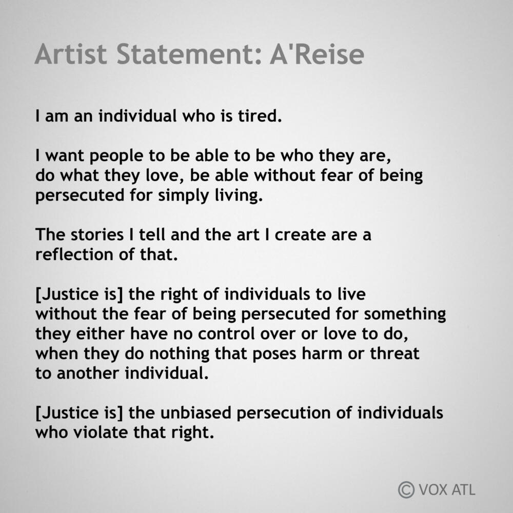 A'Reise: Artist tatement typed black text on pale gray paper