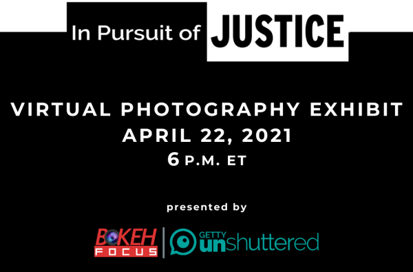 In Pursuit of Justice: BF 2021 3D immersive gallery event poster RED TOPwhite text on blac with show logo and presented by NO sponsors