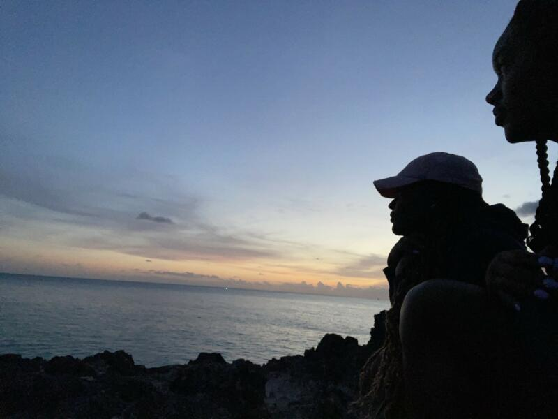 Amber Fields: A silhouette of two people looking over the sunset and beach waters.