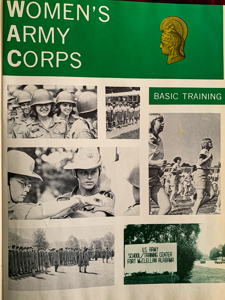 An American Hero: Women's army Corps handbook with collage of black and white photos of women soldiers