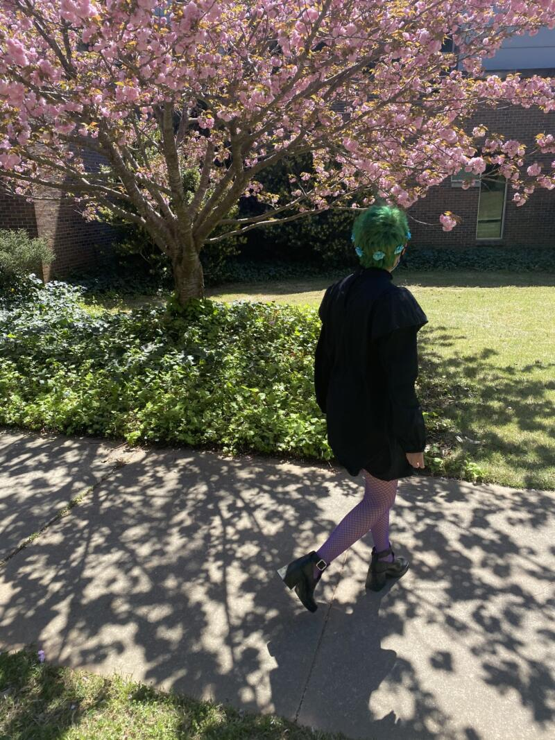 Avery Fields: young woman with with green hair, blue flower hair accessories. Wearing a black dress with purple fishnet leggings and black shoes. Standing outside grass next to a bush, and a tree with pink flowers.