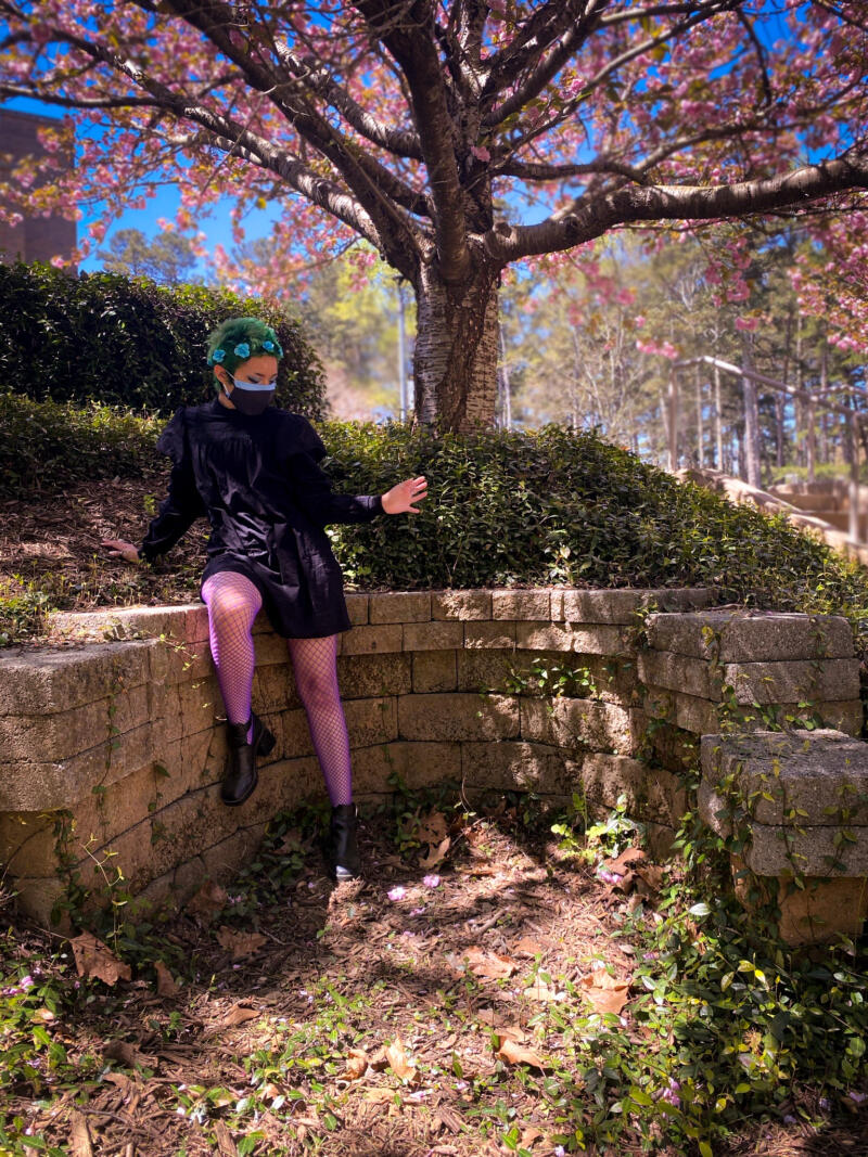Avery Fields: young woman with with green hair, blue flower hair accessories. Wearing a black dress with purple fishnet leggings and black shoes. Sitting outside on stones next to grass and bush, and a tree with pink flowers.